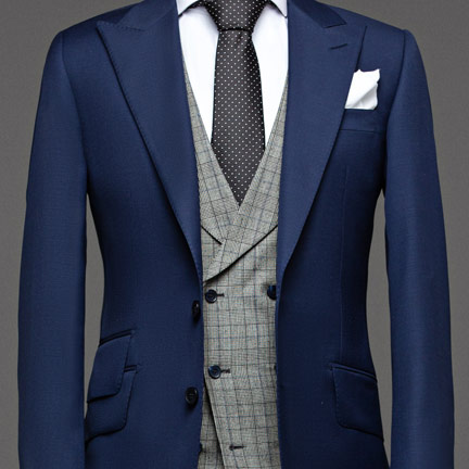 Herren Anzug 3 teilig | Blauer Anzug mit Weste